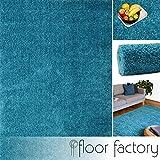 floor factory Hochflor Shaggy Teppich Colors blau/türkis 120x170cm - Pflegeleichter und günstiger Langflorteppich