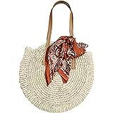 TININNA - Bolso de playa de paja para mujer, redondo, ratán, vintage, bolsa de almacenamiento, bandolera