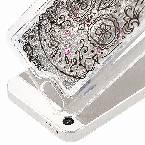 Coque pour iPhone 5C, iPhone 5C, 5C, iPhone 5C Boîtier PC, newstars Rose Motif floral paillettes cristal Blingbling [Fluide Liquide] flottante en caoutchouc transparent plaqué 3D PC PC Coque de pr Skull,Silver