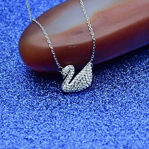 Thumby Halskette Frauen Mode Swan Schmuck Set Kette 925 Silber Schlüsselbein Kette Intarsien Zirkon Artikel Mode Seiko Halskette Damen Stil Kreuz-Kette 925 Silber, Weiße Schwan-Set-Kette