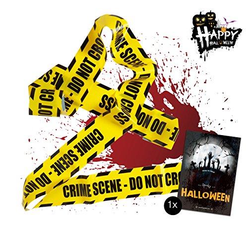 TK Gruppe Timo Klingler Absperrband Absperrung Band 6,1 Meter ALS Dekoration Deko an Halloween Halloweendeko Party (Crime Scene)