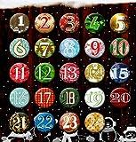24 Adventskalender Buttons: Bunte, durchnummerierte Anstecker (Ø 25 mm) mit Bogennadel zum selber...