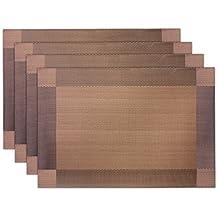 JTDEAL Mantelitos Individuales Reversible manteles individuales PVC aislamiento de calor, fácil de limpiar antideslizante segura para la decoración de la casa-juego de 4