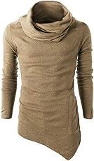 Forthery Men's Long Sleeve Irregular T Shirt Tee