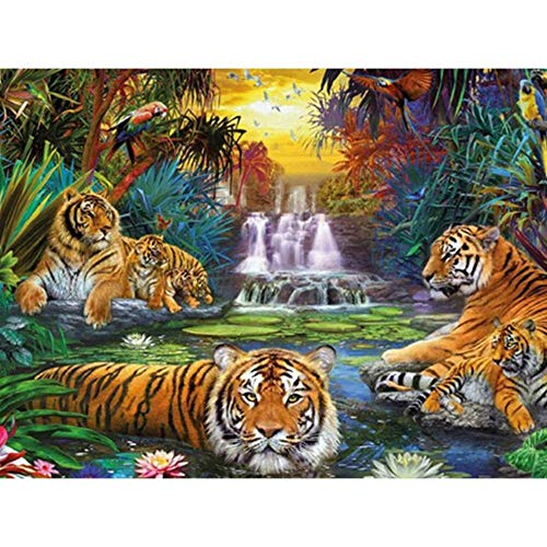 Haixin DIY 5 D Diamond Malerei Set-Drei Kleine Tiger-Strass Cross Stitch-Wohnaccessoires (30cmx40cm)