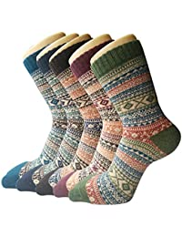 5 Paar Damen Winter Wollsocken, atmungsaktive weiche dicke Socken - bunte Farbe Premium Qualität klimaregulierende Wirkung MEHRWEG