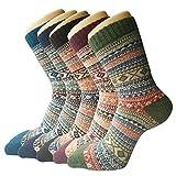5 Paar Damen Winter Wollesocken, atmungsaktive weiche dicke Socken - bunte Farbe Premium Qualität klimaregulierende Wirkung,Einheitsgröße,A6
