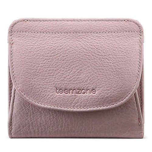 Geldbörse Damen Klein Leder RFID Schutz mit Münzfach Mini Portemonnaie Portmonee Brieftasche Frauen Geldbeutel Flache TEEMZONE(Rosa) (Geldbörse Kleine Mädchen)