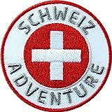 2 x Abzeichen gestickt 60 mm / Schweiz Abenteuer / Suisse Swiss Switzerland schweizer Berge Alpen Flagge Wappen Kreuz / Aufnäher Aufbügler Flicken Sticker Patch / Reiseführer Wanderführer Buch Karte