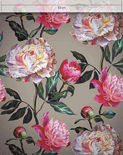 *NEWROOM Blumentapete Tapete Braun Blumen Blätter Flora Vliestapete Rot Vlies moderne Design Optik Tapete Premium Modern inkl. Tapezier Ratgeber*