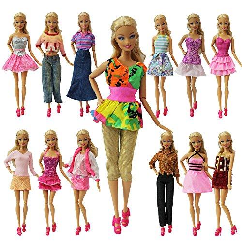 ZITA ELEMENT Ropa Barbie 20 Piezas=10 Conjuntos Vestidos de Estilo de Mezcla de Moda Hecha a Mano Ropa + 10 Pares de Zapatos para Barbie Muñeca