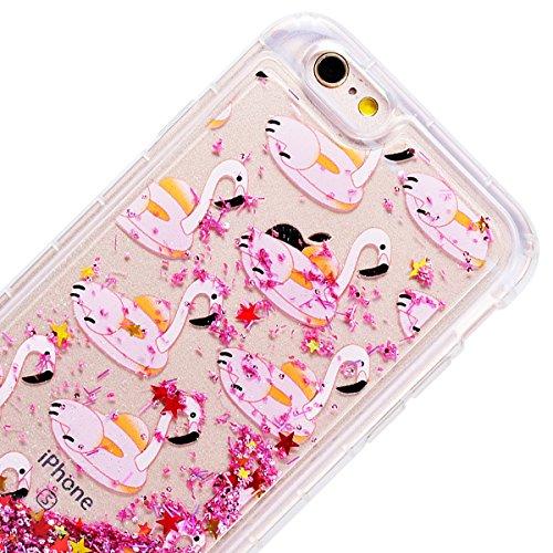 GrandEver iPhone 6/iPhone 6S(4.7 Zoll) Weiche Hülle Glitzer Bumper Bling Liquid Fließen Flüssigkeit Hartschale Schutzhülle Hart PC Rückschale mit Muster Vintage Backcover Ultra Slim Silikon Rahmen Rüc Flamingos
