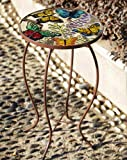 Butterflies Round Glass Top Side Table