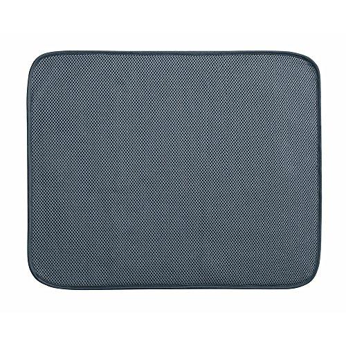 InterDesign iDry Tapete de cocina, alfombrilla escurreplatos grande y fina fabricada en poliéster para un secado de platos rápido, gris estaño