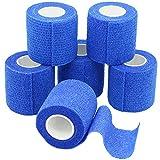 YuMai 6 Rollen Selbsthaftende Bandage, Wundverband, Sport Elastischer Verband, 5cm x 4.5m - Blau