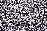 Wandteppich, indisches Mandala-Design, Hippie- / Boho-Stil, Schwarz / Weiß, ideal als Wanddeko oder Tagesdecke, 218 x 239 cm by Craftozone