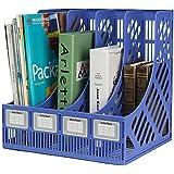 Simxen Multifunction Plastic Storage Hanger 4 Section Divider Rack Holder for File Paper Magazine Offices Home Desktop Book Box Bookshelf (Blue)
