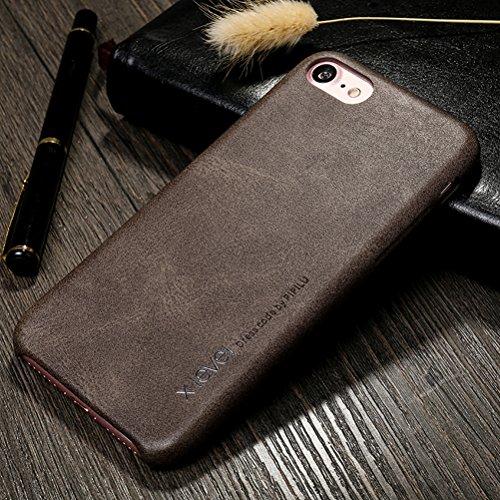 """MOONCASE iPhone 7 Étui, Rétro PU Cuir Dur PC Housse en Coque de Protection Case pour iPhone 7 (4.7"""") Noir Marron"""