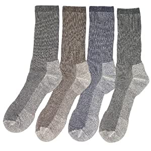 4 Pairs Mens or Womens Large Merino Wool Blend Walking