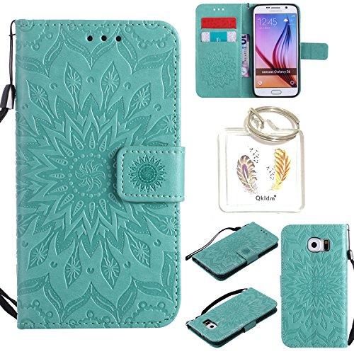 für Samsung Galaxy S6 Geprägte Muster Handy PU Leder Silikon Schutzhülle Handy case Book Style Portemonnaie Design für Samsung Galaxy S6 + Schlüsselanhänger(/*19) (4)