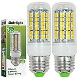 Sink-light® 2 Stück E27 9W LED lampe Leuchtmittel & Birne Mais Licht 69x 5050 SMD LEDs Mit PC Material (550LM , Kaltweiß 6500K, AC 220-240V, 360º Abstrahlwinkel, Ø32 x 97mm) Super energiesparend licht gut für die Wärmeabgabe