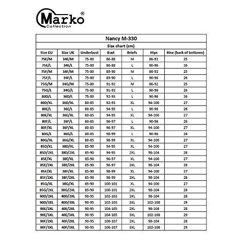 Marko Nancy M-330 Bikini Set Dame Strandmode regulierbar normaler Bund zweifarbig Bügel EU Blau