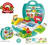 #7: Cashier Center Supermarket Cash Register Play Set - Mini market Toys with Scanner & Calculator, Currency Note, Coins & Cards, Groceries