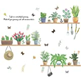 Vosarea Cartoon Cactus Pot Plantas verdes Hojas Pegatinas de pared Tatuajes de pared Vinilo removible Arte Tatuajes de pared
