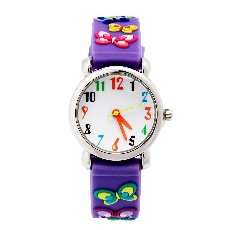 ParaCity Waterproof 3D Cute Cartoon Digital Silicone Wristwatches Time Teacher Gift for Little Girls Boy Kids Children (Purple Butterfly)