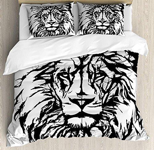 Lion 3-teiliges Bettwäscheset Bettbezug-Set, Sketch Art des afrikanischen Safaritiers King of The Jungle Savannah Wildlife, 3-TLG. Tröster- / Qulitbezug-Set mit 2 Kissenbezügen, Schwarz-Weiß-Hellgrau -