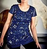 Guido Maria Kretschmer Damen Designer-Paillettenshirt, Royalblau, Größe:42