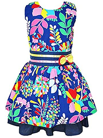 Girls Dress Flower Leaves Summer Holiday Sundress Kids Sleeveless Party Wedding Dresses Navy 7T/6-7Y