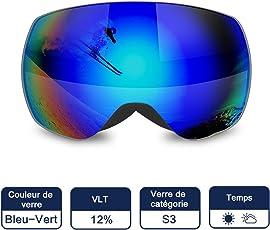 Masque de ski UV400double couches Lentilles anti-buée anti-rayures à porter par RX Lunettes de Snowboard, lunettes de soleil pour homme femme, Homme femme mixte, violet