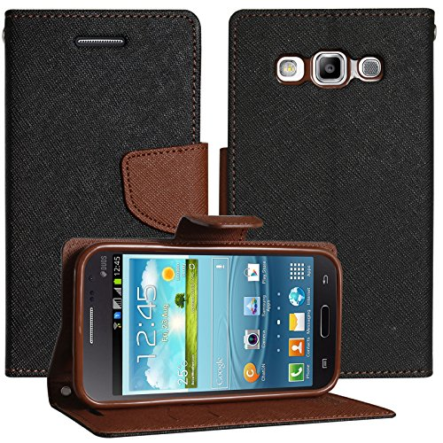 DMG Synthetic Leather Slim Wallet Flip Cover Case with Card Slots and Magnet Closure for Samsung Galaxy Grand Quattro i8552 (Brown)