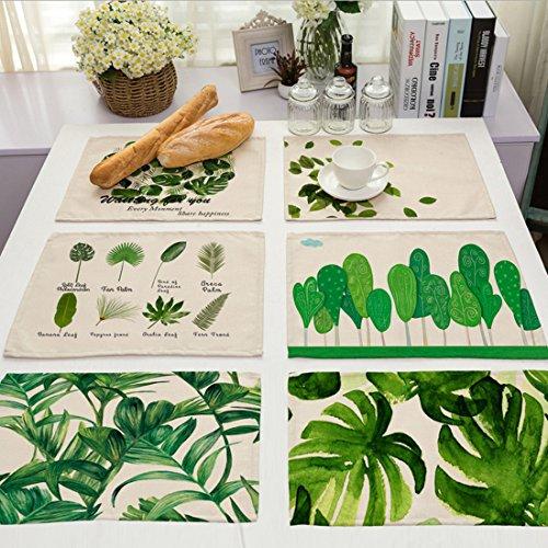 GWELL 6er Set Tischset/ Platzset Blatt Design Platzmatte hochwertige Baumwolle und Leinen Tischunterlagen 42x32cm (Blatt-untersetzer-set)