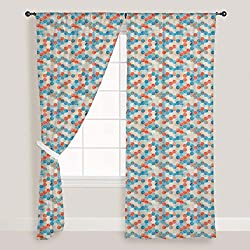ArtzFolio Blue Cubes - Portrait Shape 4feet x 8feet; SET OF 2 PCS - CURTAIN for ROOM & WINDOW of PREMIUM SATIN Fabric: Digital Printed Wall Curtain: Home Dcor for Living Room, Dining Room, Bedroom, Kids Room, Dining Room, Offices, Meeting Rooms : Abstract : Digital Art