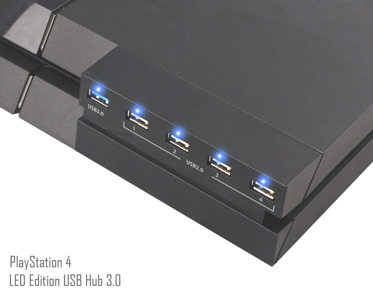 [New Edition] PS4 USB Hub Adaptateur – ElecGear 3.0 5-port Extender Adapter et Indicateur LED Splitter Controller Chargeur pour PlayStation 4