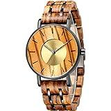 Mens Wooden Watch, Natural Wooden Alloy Analogue Quartz Wrist Watches Lightweight Waterproof Adjustable Classic Vintage Elega