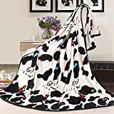 ShineMoon Unltra Soft Black/White Unisex Adult Children Bedroom Cartoon Blanket / Throw Single Double Bed Sofa Covers Warm, 150x200cm