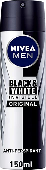 NIVEA, MEN, Deodorant, Invisible Black & White, Original, Spray, 150ml