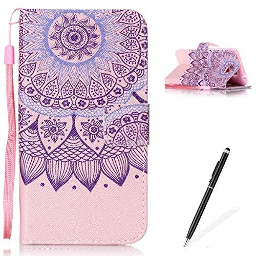 Feeltech Hülle für Huawei Y5 II/Honor 4A Weich Magnet PU Brieftasche Elegant Kartenfach Extra Dünn Schutzhülle Bunte ReLife MusterKarte Halterung Klapp Ledertasche - Stammes Mandala