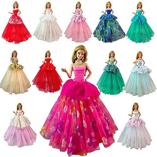 Miunana Hochzeit Fashionistas Ballkleid Abendkleid Kleidung Kleider Cocktailkleid Minikleid für Barbie Puppen Doll (7PCS) (Barbie Fashionistas Doll Set)