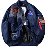 Men's NASA Embroidery Logo Flight Bomber Jacket Windproof Waterproofer Windbreaker Comfortable Outdoor Sport Air Force MA-1 J