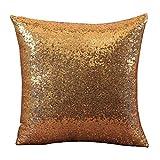 Gusspower-Funda de Almohada de Lentejuelas Cojines Decorativos Fundas de Cojines Funda de Almohada del Brillo Cojines para Sofa 40 * 40cm/45 * 45cm (Amarillo, 40 * 40CM)