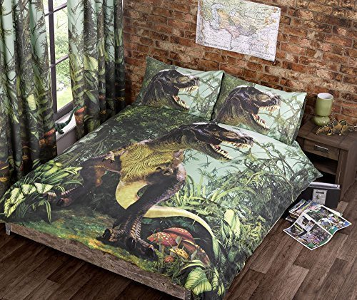 Jurassic Dinosaur T-Rex Lime Green Brown Jungle Double Bed Size Duvet Cover Hallways ®