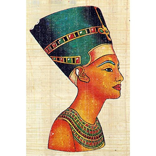 Pitaara Box Queen Nefertiti On Papyrus Canvas Painting MDF Frame 16 X 24Inch (Queen-size-split-box)
