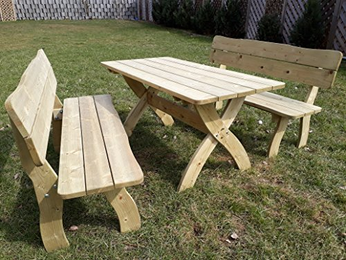 naturholz-shop Gartengarnitur Gartensitzgruppe Finia Massiv Holz Bank Tisch Sitzgruppe