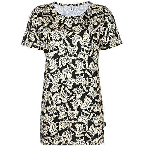 Moschino t-shirt girocollo donna swim logo teddy bear toy oro/nero ae18mo03
