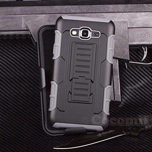 Cocomii Robot Armor Galaxy Core Prime/Win 2/Prevail Hülle [Strapazierfähig] Gürtelclip Ständer Stoßfest Gehäuse [Heer Verteidiger] Case Schutzhülle for Samsung Galaxy Core Prime (R.Gray)