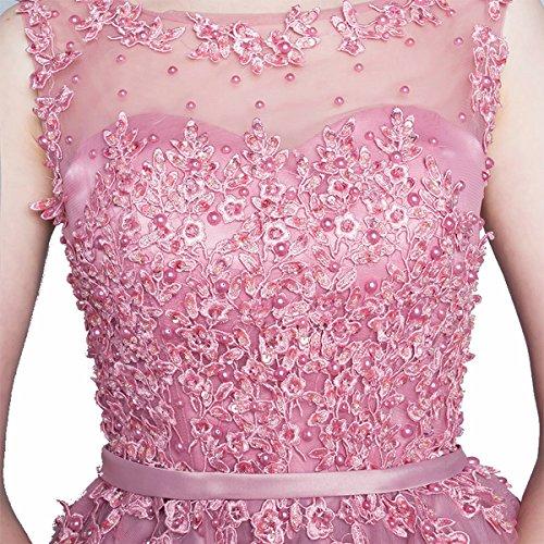 JAEDEN Principessa A-linea Abito da ballo Lungo Tulle Abito da festa Pizzo Vestito fidanzamento Rosa